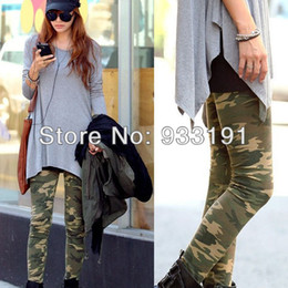 Wholesale Camouflage Stretch Pants - Womens Camouflage Army Print Stretch Cool Sexy Pants Skinny Leggings Trousers Free Shipping&Drop Shipping