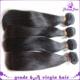Wholesale grade 6a hair extensions - 8-32inch brazilian virgin hair silk straight 4pcs lot all mix length grade 6a Human Hair Extension natural black DHL free shipping