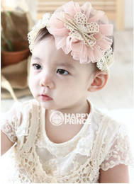 Wholesale Eyelet Lace Bow - Korean Style Children Baby Girls Fancy Lace Big Flowers Bow Center Hairbands Kids Colorful Floral Eyelet Hair Accessories B0491