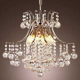 Venta al por mayor de Moderna araña de cristal con 6 luces LED Lámpara de luz colgante de cristal Envío gratis