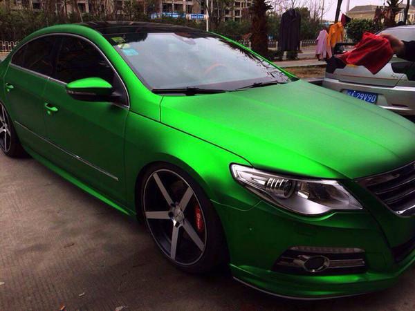 *Premium Green Satin Chrome Matte Metallic Car Vinyl Wrap Sticker Air Release