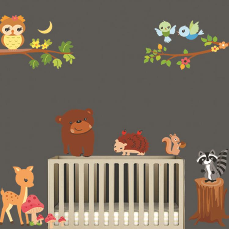 Animaux de bande dessinée de bande dessinée Wall Sticker Owl Deer Squirrel Bear Stickers muraux Amovible DIY Revêtement mural pour bébé Enfants Chambre Décoration