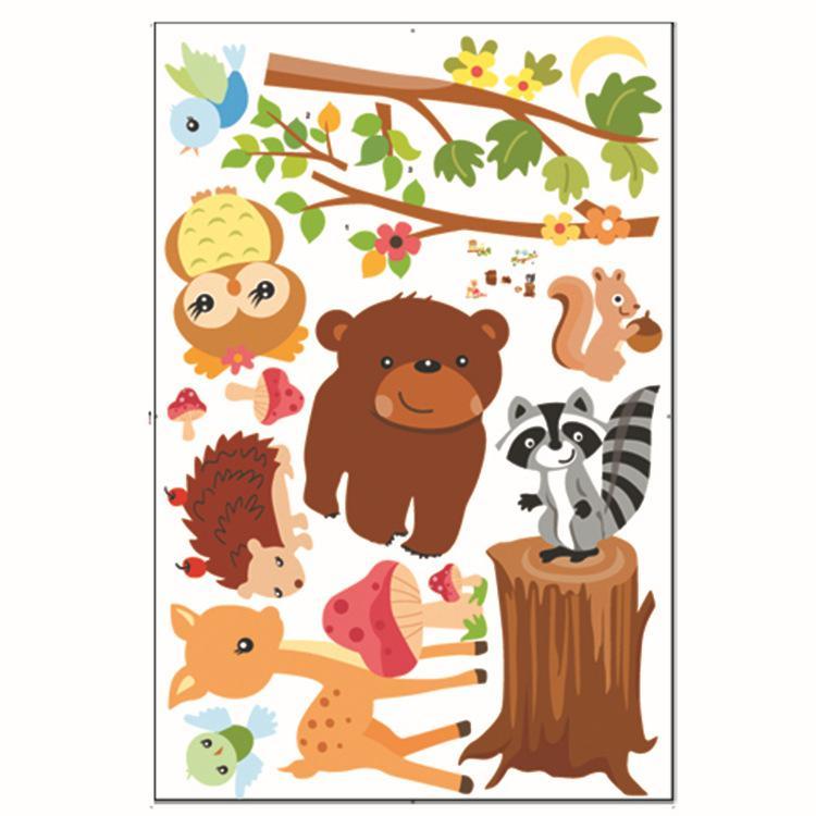 Karikatür Orman Hayvanlar Duvar Sticker Baykuş Geyik Sincap Ayı Duvar Çıkartmaları Için Çıkarılabilir DIY Duvar Kaplaması Bebek Çocuk Yata ...