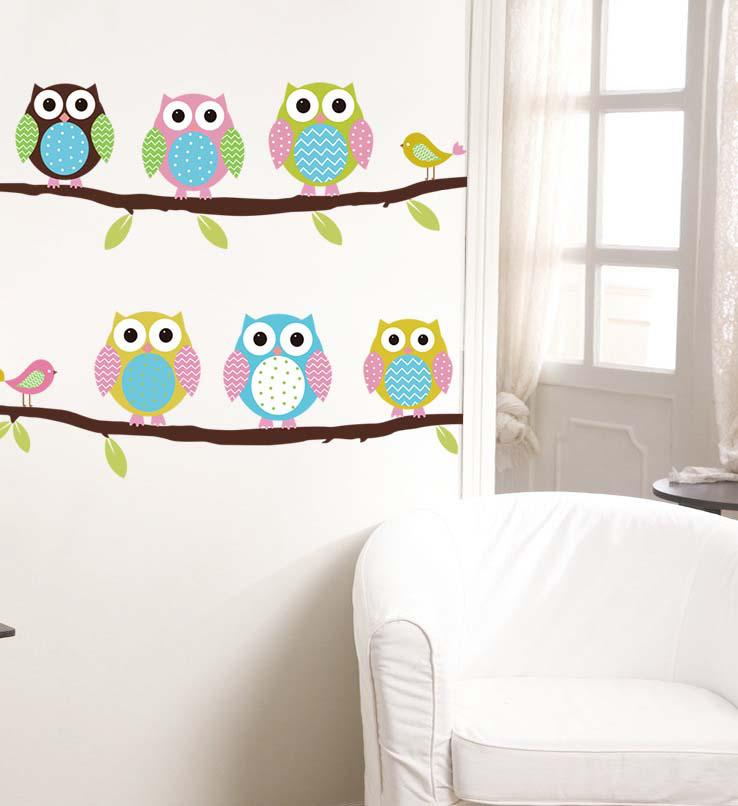 Cute Lovely Owl Wall Sticker Six Cartoon Color Emoji Owls Wall Decal Stickers For Baby Kids Bedroom Decoration