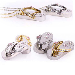 Wholesale Necklace Flash Memory Stick - 5pcs lot Metal Crystal Slippers 2GB 4GB 8GB 16GB USB 2.0 Flash Memory Stick Pen Drive + Gift Box