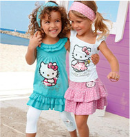 Wholesale Blue Dress Suit Kids - free shipping High-quality Summer Hello Kitty Baby Girl Suits Kids Sets headband+Dress+Pants Children Clothing 3pcs Set retail