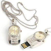 Wholesale Memory Stick Usb Necklace - 5pcs lot Crystal Pocket Watch USB 2.0 Memory Stick Flash pen Drive 2GB 4GB 8GB 16GB + Gift Box