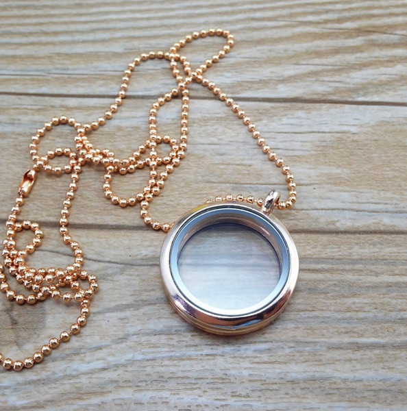 1pcs 30mm Living Floating Memory Round Locket Necklace Pendant Chain