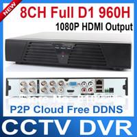 Wholesale D1 Network Dvr - Wholesale-H.264 CCTV DVR 8 Channel FUll D1 960H HDMI 1080P Real-time Network Recording DVR recorder Free DDNS P2P Cloud CCTV System