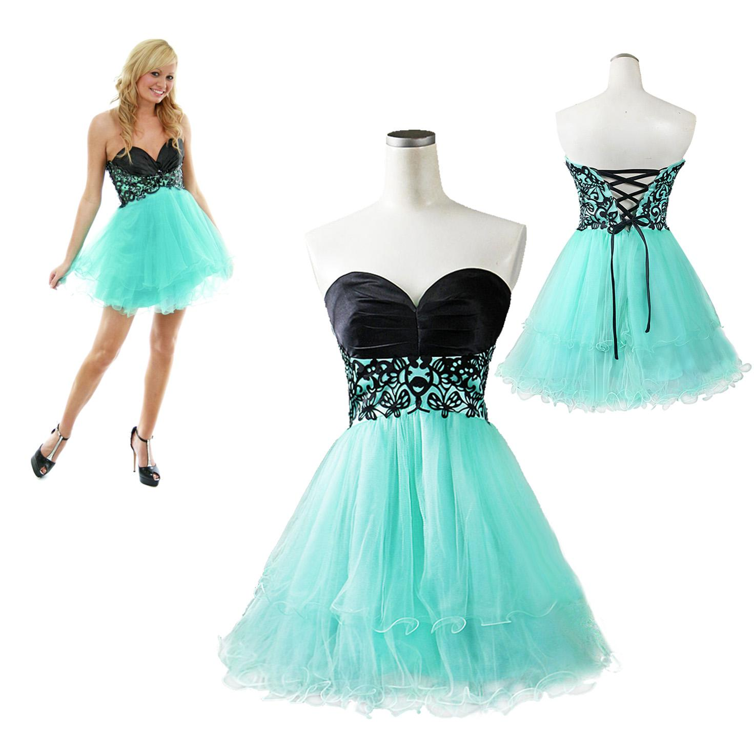 2014 Cheap In Stock A Line Sweetheart Short Mini Turquoise Tulle ...