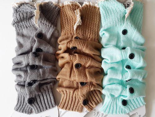 Long solid button down Lace Knitted Leg Warmers Boot Stocking Socks Boot Covers Leggings Tight #3478