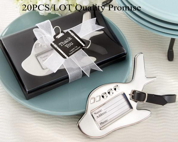 20Pcs/lot Wedding favors Airplane Luggage Tag in Gift Box with suitcase tag for Wedding gifts and Party Favor Free shipping Quality Promise