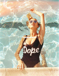 Wholesale Cheap Women White Suits - Wholesale-High Quality 2014 NEW Bathing suit Stampd Dope Swimsuit,Cheap one piece Swimwear Dope women Black and White Swimwear