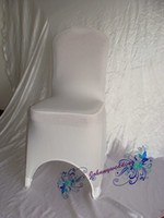 Wholesale Nylons Spandex Chair Covers - 50 Good Quality Spandex Chair cover white Color Common size for Sale Lycra Chair Cover for Wedding free shipping to Russia