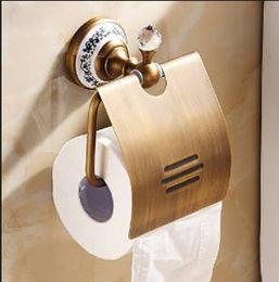 Titular de papel de baño antiguo online-Crystal Bathroom Toliet Paper Holder Waterproof Tissue Holder Antique Brass