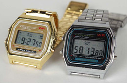 alarm prices Promo Codes - Fashion F91W Sports watch Gold and Silver watches f91 & A159w Alarm Clock Ultra-thin LED watches Digital wristwatch Factory price Hot Sale
