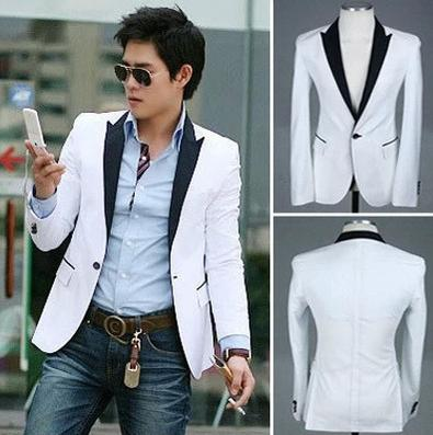 New Men'S Color Block Slim Fit White Blazer Suit Jacket 1 Button ...