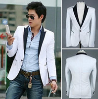 Wholesale Color Block Suit Jacket - new men's color block slim fit white blazer suit jacket 1 button