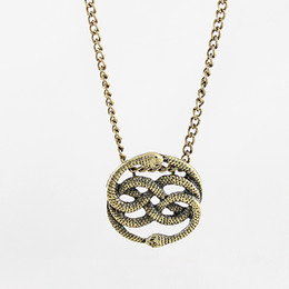 Wholesale Snake Chain Neckalce - New Design Fashion Jewelry Vintage Individual Cute Double Snake Pendent Chain Choker Neckalce for Men and Women