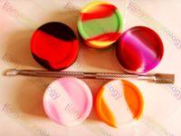 ko großhandel-Wachs-Behälter mit Dabber-Silikon-Gläsern für nicht Stock-Wachs Trockenes Kräuterhonig-Krümel-Honig-ätherisches Öl-kosmetischer runder Zertrümmern