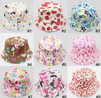 Wholesale Wholesale Material For Hats - Free shipping 2014 Bucket sun hat for girls  kids baby summer hat 35 styles canvas material