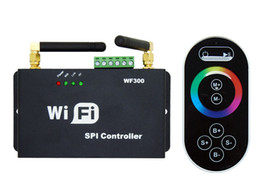 rf controller wifi Canada - SPI LED WiFi Controller Dimmer RF Touch Remote Control WF300 For RGB LED Light Strip DC5V-24V