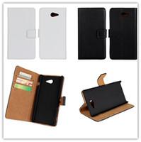xperia schwarzer fall großhandel-New Black Echtes Leder Ständer Wallet Case für Sony Xperia M2 S50h Mode-Karte Solt Leder für Sony M2 Dual D2302 frei