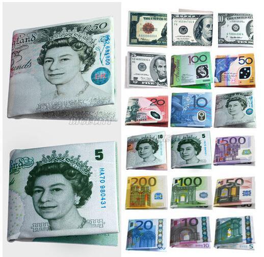 Valuta di unisex delle donne degli uomini eleganti di modo Note USD Dollaro GBP Libbra EUR EURO Borsa del portafoglio del modello Borse creative della tela Trasporto libero