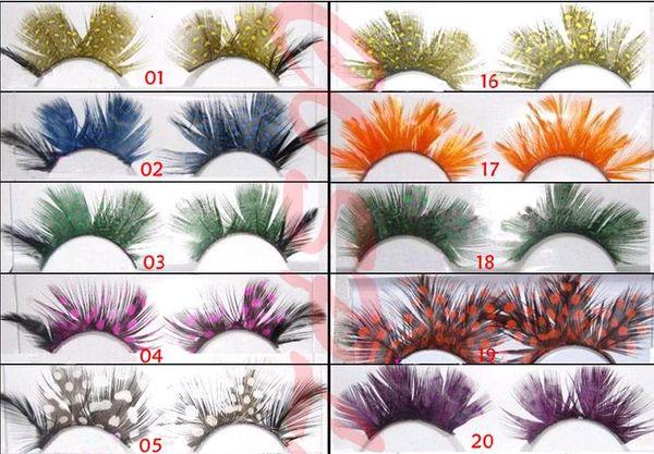 Thousands of colored feather exaggerated false eyelashes order wholesaleThick Long False Eyelashes Eyelash Eye Lashes Voluminous Makeup