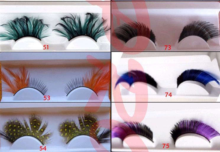 2018 Dyeing color exaggerated false eyelashes eye feather false eyelashes Long False Eyelashes Eyelash Lashes Voluminous Makeup