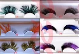 Wholesale Wholesale Feather False Lashes - Dyeing color exaggerated false eyelash false eyelashes eye feather false eyelashes Long False Eyelashes Eyelash Lashes Voluminous Makeup