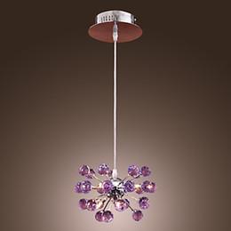 Lámpara colgante de cristal moderna K9 con 6 luces en color púrpura Envío gratis en venta