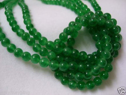 "Wholesale Green Jade Loose - 6MM Green Jade Round Loose Gem Beads 15."" 2pc lot"