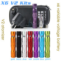Wholesale Ego Battery X6 Dhl - Top quality X6 V2 Kit 1300mAh X6 Mod Variable Voltage vv mods ego battery V2 Atomizer Electronic Cigarette Zipper Case starter kits DHL free