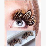 Wholesale Halloween Feather Lashes - Halloween stage photography art popular natural feathers exaggerated false eyelashes