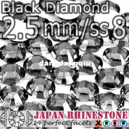 Wholesale Black Diamond Rhinestone Flatback - Wholesale2.5mm SS8 Black Diamond FlatBack Resin Rhinestones,3000pcs bag Non-hotfix Glue-on loose crystal stone for DIY Nail-Art Cellphone