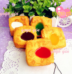 Wholesale Egg Squishy - Wholesale-New Juice Pudding Egg Tart Squishy Cell Phone Charm free shipping