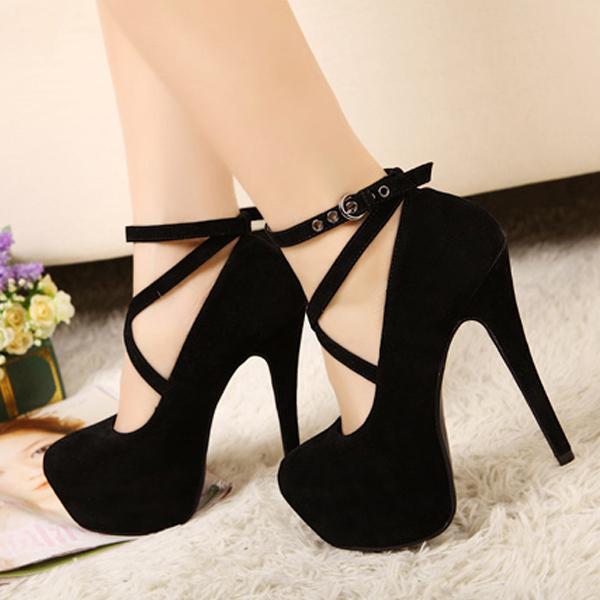 Womens Super High Suede Pumps Plattform Stiletto Knöchel geschnallt High Heels Schuhe