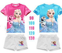 Wholesale Boys Suits Retail - Retail SALE! 2015 Summer Girls and boys Elsa&Anna Princess Clothing Sets Baby girl T-Shirt+ Shorts suit set
