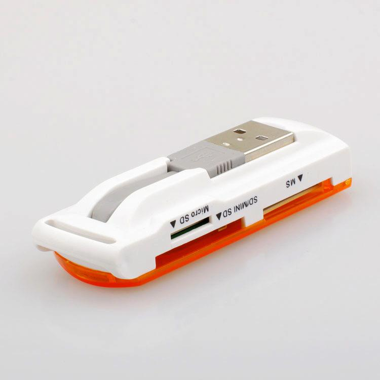Wholesale - 4 in 1 TF,M2,MS,SD card reader with USB 2.0 port support 2G-32G card with high speed