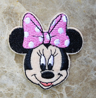 Wholesale Iron Embroidered Patch Minnie - free shipping! Minnie Pink butterfly embroidered Iron On Patches cartoon badge ~ 100% Guaranteed Quality Appliques ~ diy accessory