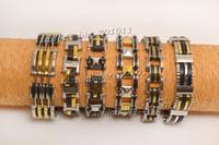 edelstahl armbänder gemischt großhandel-Männer Gold und Silber Farben 6 gemischt Stil Gliederkette Armbänder Edelstahl Schwarz Gummi Armband Armreif Schmuck Kostenloser Versand # br0188m