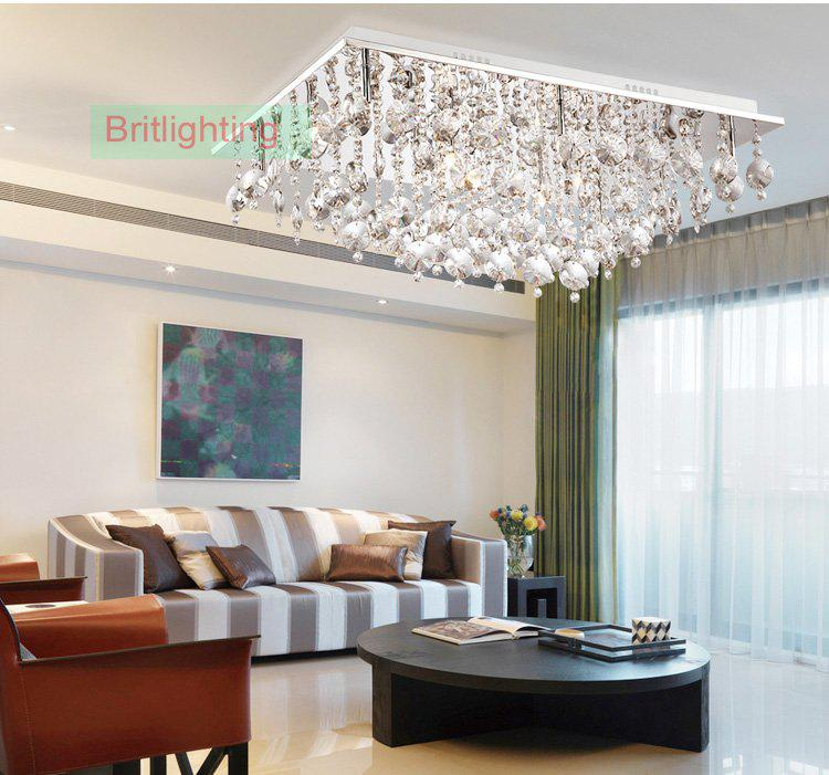 Bed Room Lights Crystal Flush Mount Ceiling Light Led Modern Lamp Living Rectangle