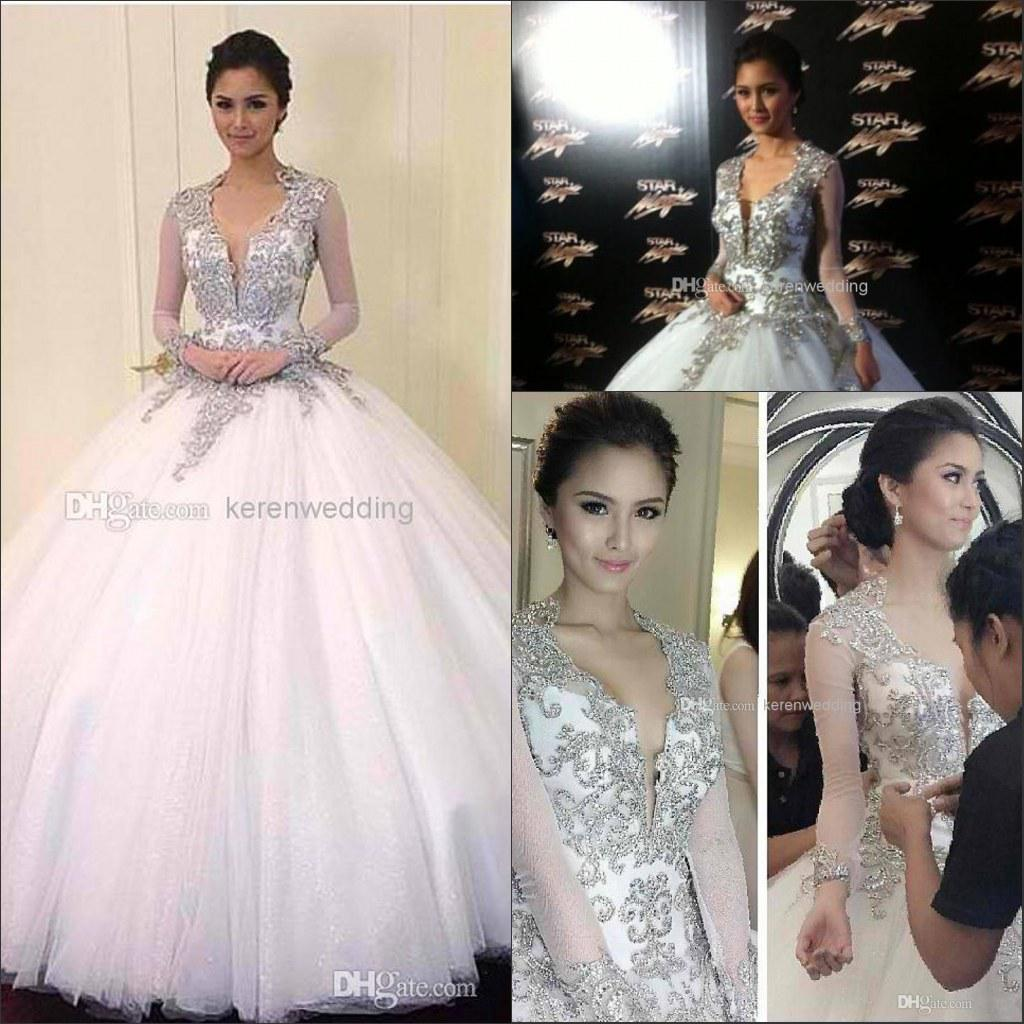 2014 bling beading crystals wedding dresses for bride with 2014 bling beading crystals wedding dresses for bride with illusion long sleeves ball gown backless tulle floor length bridal gowns dx501 old fashioned ombrellifo Gallery