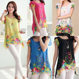 Wholesale New Chiffon Blouses - New Fashion 2016 Women's Blouse Floral Print Hollow Out Petal Sleeves Tops G0459