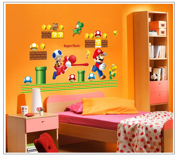 Removable Large Super Mario Bros Wall Stickers For Kids Rooms Home  Decoration Wall Art Cartoon Decorative Wall Decals Poster Wallpaper Kids  Wall Sticker. Removable Large Super Mario Bros Wall Stickers For Kids Rooms Home