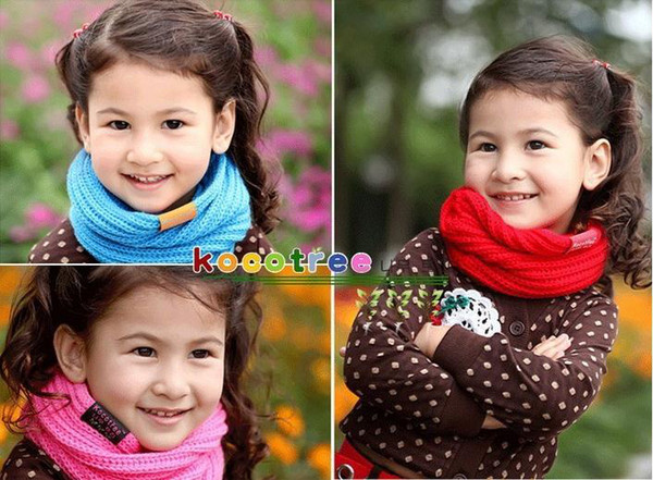 5pc/lot Children's Kids Muffler Baby Boy /Girl Warm Scarf Candy Color Boy /Girl Knitted Ring Scarf