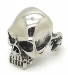Wholesale Unique Mens Fashion - Mens Jewelry,Gothic Style Fashion Guge Stainless Steel Rock Biker Unique Design Ghost Skull Vampire Rings For Men Silver New