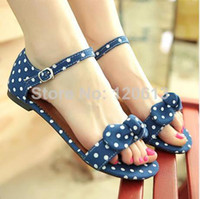 Wholesale Shoes 43 Female - size 34-43 sweet polka dot bow shoes transpierce gentlewomen brief hasp flat-bottomed female sandals 2014 summer new flat