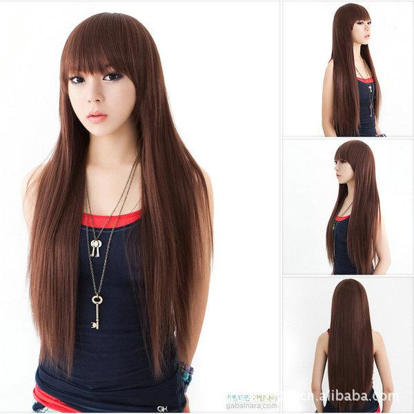 South Korea Live Models Wig Long Straight Hair Fluffy Hair